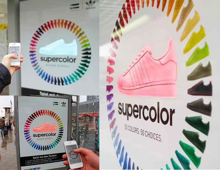 "Commuters were put in control of the advertising creative for the ""Adidas Superstar"" sneaker. By connecting with the ""Supercolor"" Wifi net they could use their smartphone or tablet to customise the sneaker from an interactive LED colour wheel."