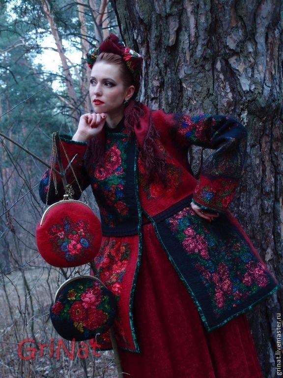 """Купить Валяное пальто""""Ярина"""" - разноцветный, grinat, валяние из шерсти, валяное пальто, пальто войлок"""