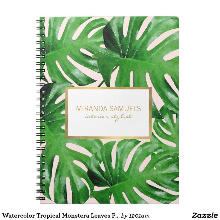 Watercolor Tropical Monstera Leaves Pattern Pink
