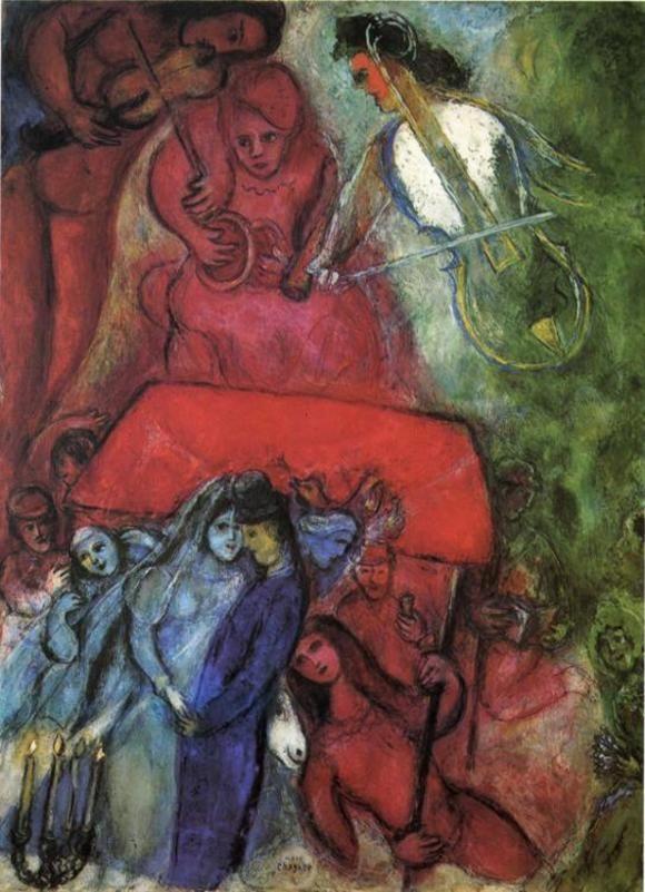http://www.m-chagall.ru/images/pict/590.jpg Свадьба (1944 год) Холст, масло 99 × 74 см Частная коллекция.