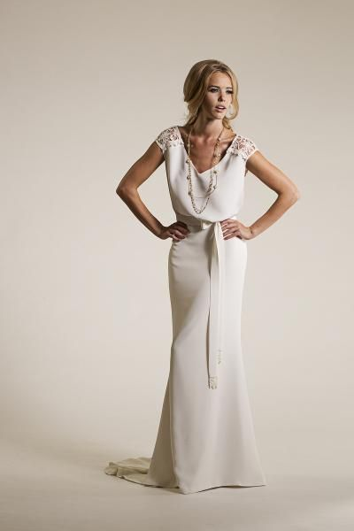 Luna. Enchanting, charming, and at ease with elegance. | Amy Kuschel lace and crepe wedding gown.