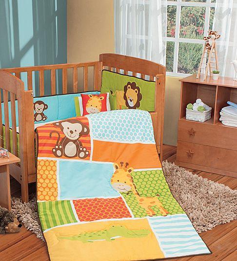 NEW Lion Monkey Giraffe Jungle Animals Orange Baby Crib Bedding Nursery Set 6