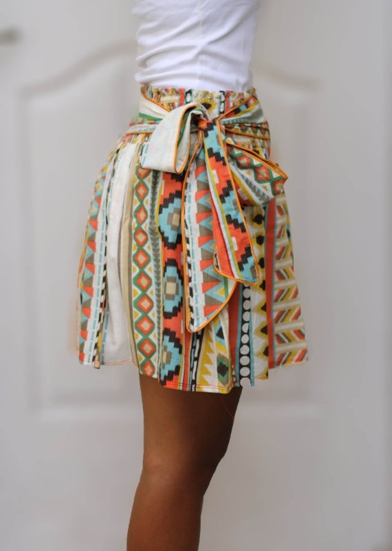 OOAK Colorful Tribal Orange Mini Skirt Ready to by LoNaDesign:etsy