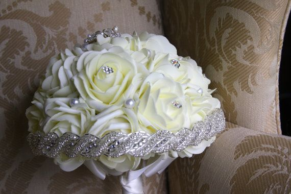 Hey, I found this really awesome Etsy listing at https://www.etsy.com/listing/175968920/wedding-bouquet-with-ivory-foam-roses
