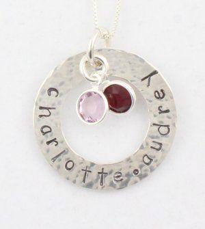 Martillados a mano estampadas personalizadas de plata esterlina Círculo Lavadora Colgante Piedra de la fortuna del collar N063