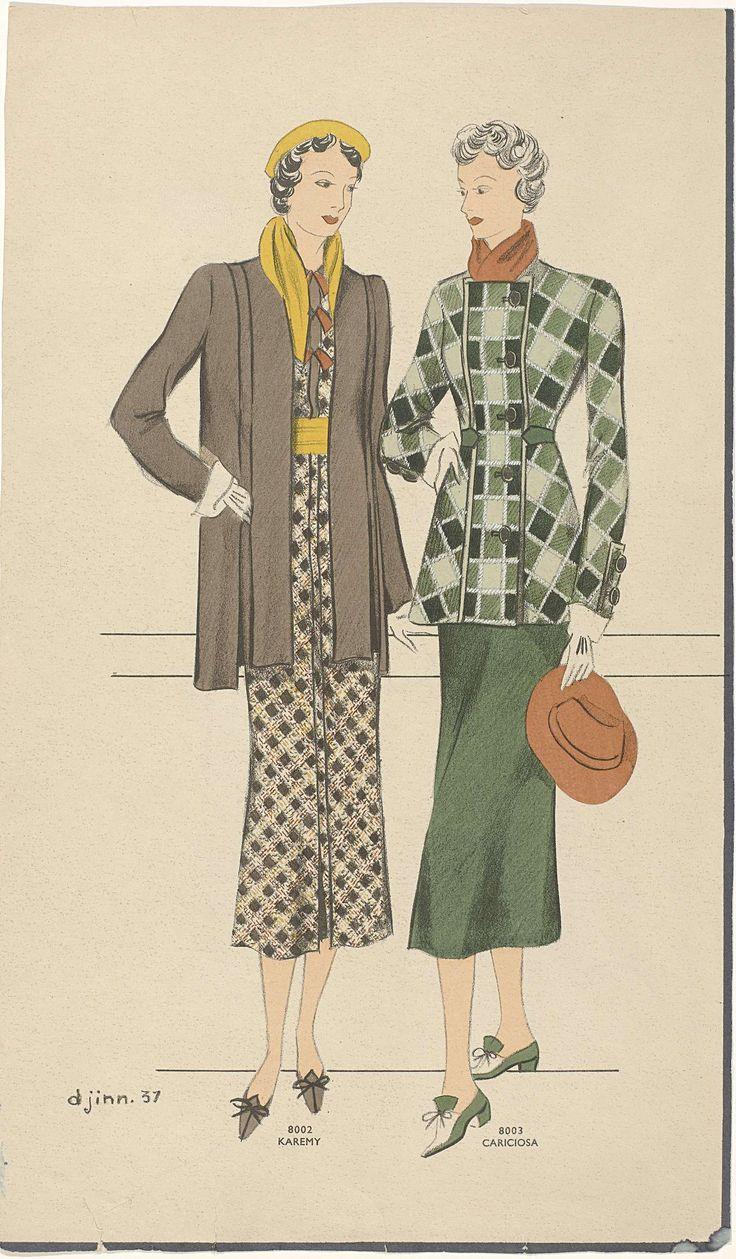 Anonymous | Twee vrouwen: 8002 Karemy / 8003 Cariciosa, Anonymous, 1937 | Twee verschillende ensembles, genaamd Karemy (8002) en Cariciosa (8003). 8002: bruine jas op een geruite jurk in bruin/geel/rood. Gele hoed en sjaal. Bruine schoenen met strikken. 8003: Geruite jas in groentinten, met overslag, gesloten met vijf grote knopen. Bij de manchetten twee idem knopen. Donkergroene rok. Rode sjaal en hoed. Tweekleurige schoenen met hakken en strikken. Verso: twee   ensembles, genaamd Carolina…