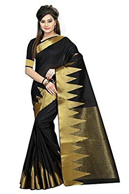 Z Fashion Women's Black Banarasi Jacquard Cotton Saree