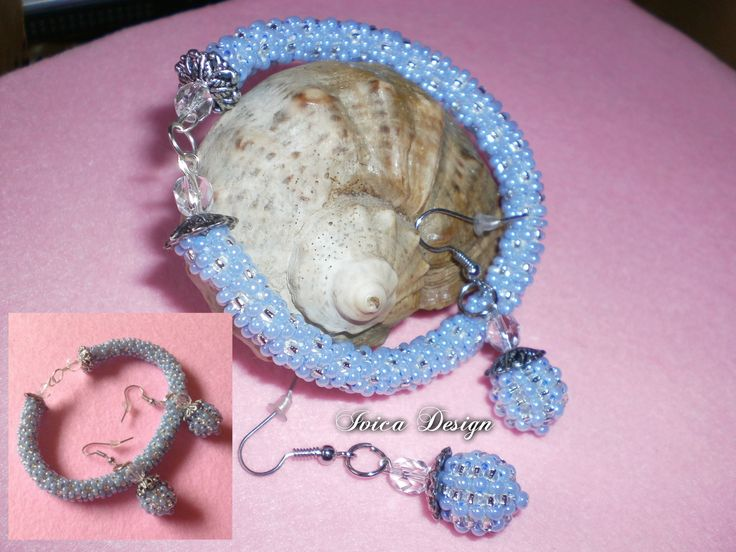 Silver- Lightblue bead crochet set <3 Follow me on my Facebbok page: https://www.facebook.com/IvicaDesign/?ref=bookmarks Buy my individual jewelry on Porteka:  https://porteka.com/hu/ivica