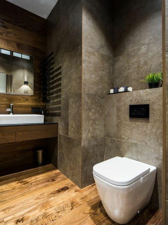 idee deco salle de bain nature, sol en planches, murs en ...