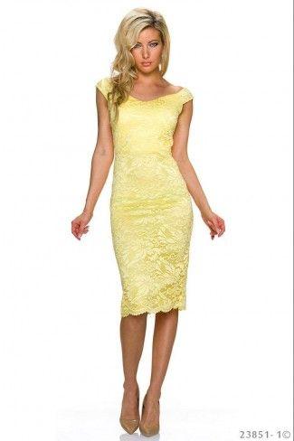Αμάνικο δαντελένιο φόρεμα με ανοιχτή πλάτη - Κίτρινο