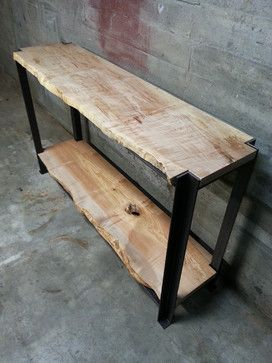 """Wax On Spa_West Seattle - Curly Maple Live Edge Slabs with 2"""" x 2"""" x 0.25"""" Angle Iron."""