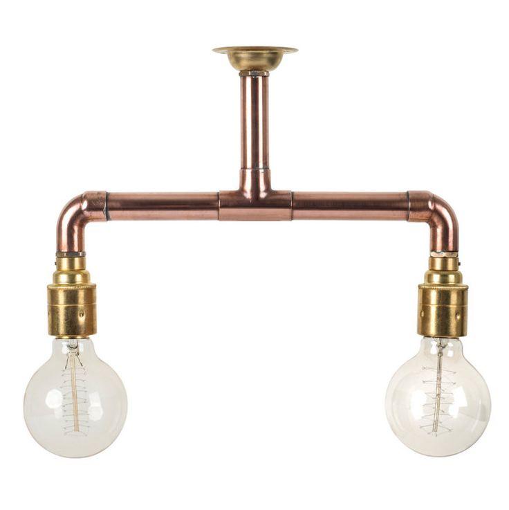 Copper Pipe Light Industrial Ceiling Light Brass E27 by HomeCrush