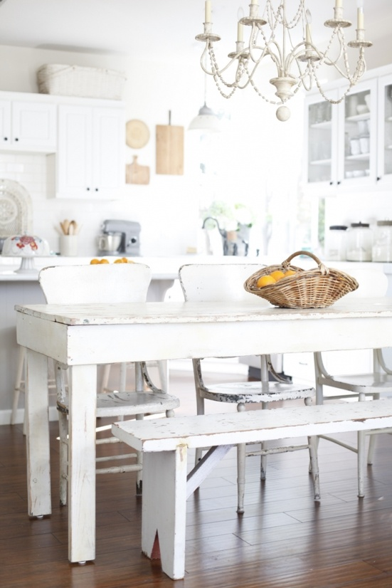 Simple White Timber Farmhouse Table Chairs And Bench For Casual Dining In A Modern KitchensFrench Country