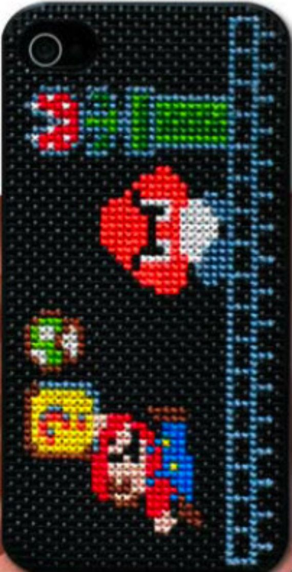 Cross-Stitch iPhone Case Kit by Coats & Clark -- I need this! Not necessarily Mario. Just the kit.