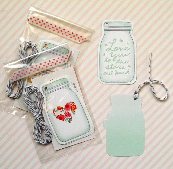 mason jar gift tags double sided mixed 5pak by magdalenarose
