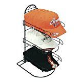 """#ad  3 Pocket Countertop Wire Hat Rack, Black  Keep merchandise neatly displayed with this wire hat rack. Approximately eight caps will nest into each of the three vertical pockets. A built-in wire sign holder at the top of the hat rack will allow you to display sign cards of almost any size. The knock down design reduces shipping costs and makes it easy to store the stand when it is not in use. Constructed of metal with a black powder coated finish. This wire hat rack measures 8"""" x .."""