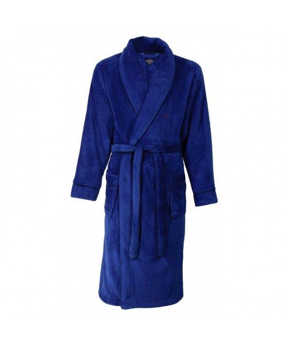 """""""Heren badjas met sjaalkraag   Mooie heren badjas van het merk Paul Hopkins. De badjas is afgewerkt met een blauwe bies. Deze badjas heeft een sjaalkraag en is heerlijk warm. De badjas heeft twee zakken, een ceintuur en de lengte is tot op de kuit. 100% coral fleece"""""""