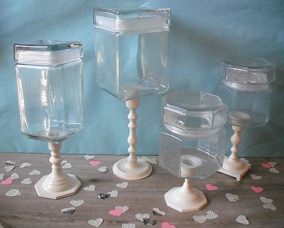 4 upcycled apothecary Wedding Candy Buffet Jars ... Ivory White ... Candy Bar pedestal jars $44.00 MamaLisasCottage @ ETSY