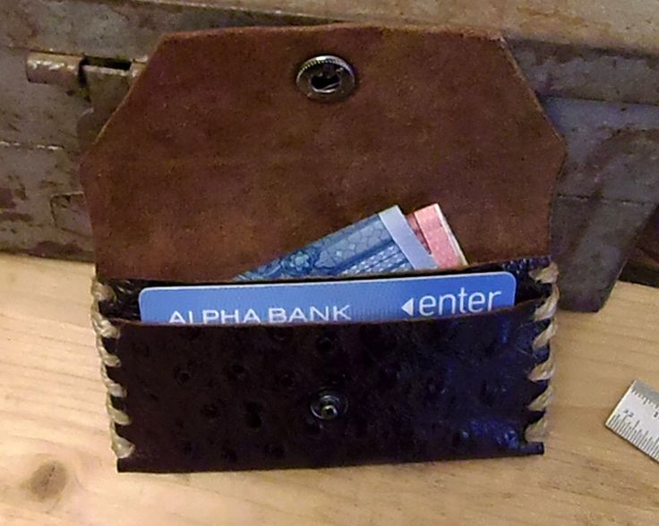 Card Holder Wallet, Leather Wallet, Handmade Wallet, Business Card Case, Small Wallet, Everyday Wallet, Men's Wallet, Ostrich Leather, Gift. by VakalisCreations on Etsy https://www.etsy.com/listing/254983834/card-holder-wallet-leather-wallet