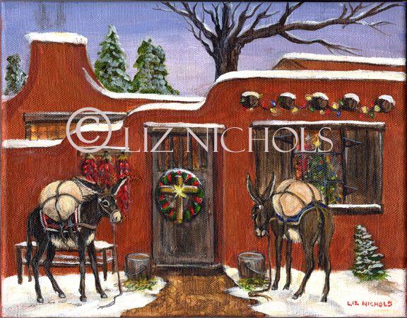 """Santa's Burros"" Canyon Rd, Santa Fe NM painting by Liz Nichols"