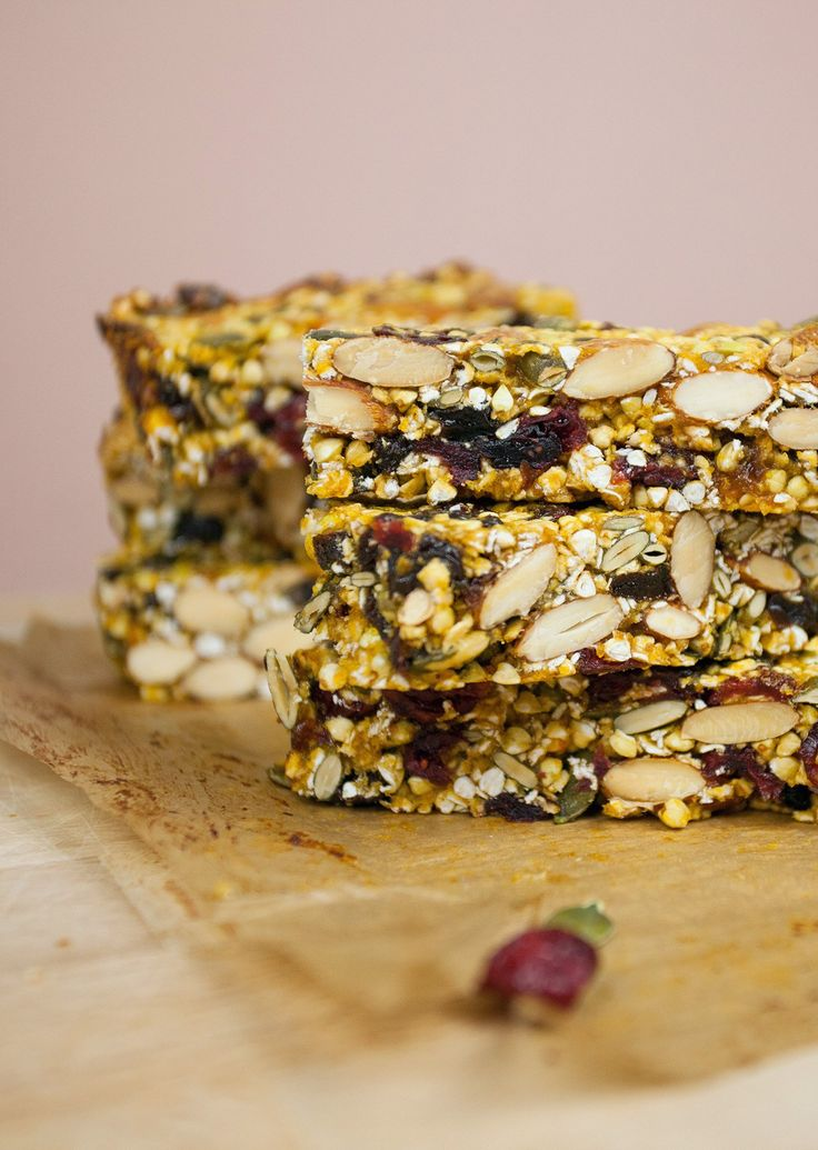 Homemade Energy Bars -  Servings	 10 bars INGREDIENTS 1 cup oats 1/2 cup pumpkin seeds 1 cup almonds 1/2 cup raw buckwheat groats 1/2 cup raisins 1/2 cup dried cranberries 1 cup soft dried apricots 1/4 cup maple syrup 1/4 cup water