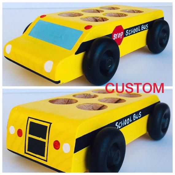 Wooden Toy Bus Yellow Handcrafted /& Hand Painted