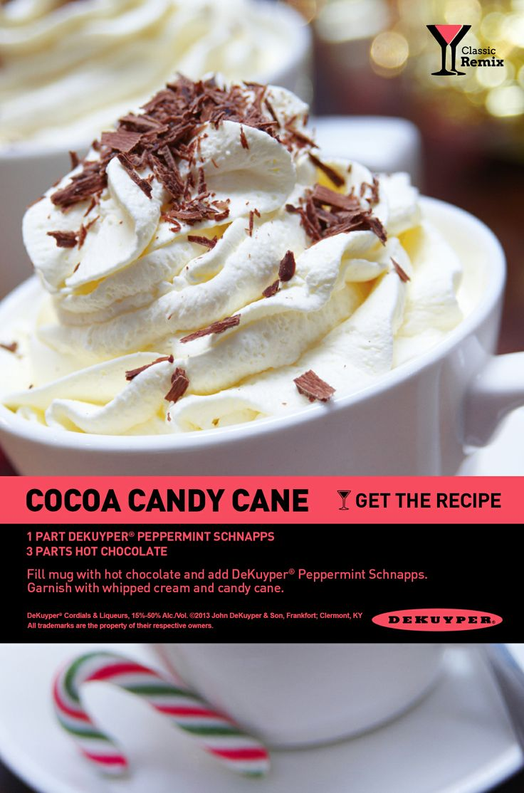 Hot Chocolate and Peppermint Schnapps: the perfect holiday cocktail! #peppermint #cocoa #holiday #cocktail #recipe