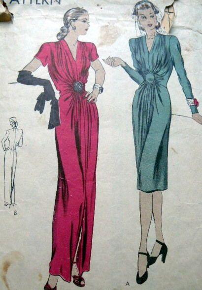LOVELY VTG 1940s EVENING DRESS VOGUE Sewing Pattern 12/30 *TLC* sld 29.99+1.99 4/5/16