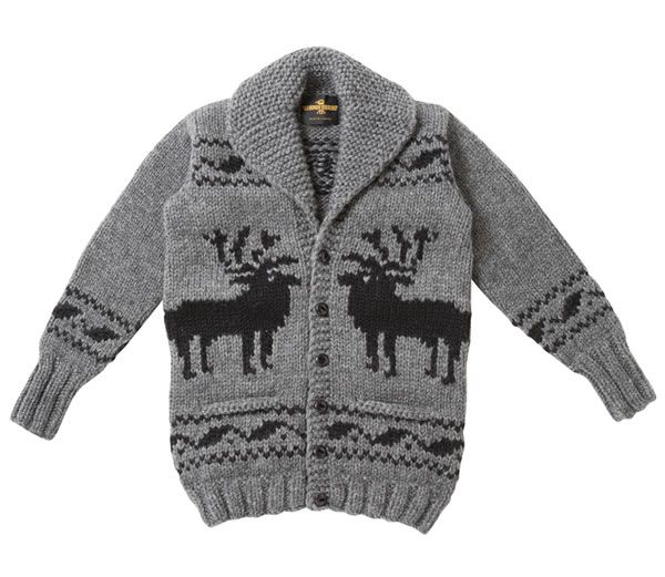 Long Cowichan sweater deer pattern