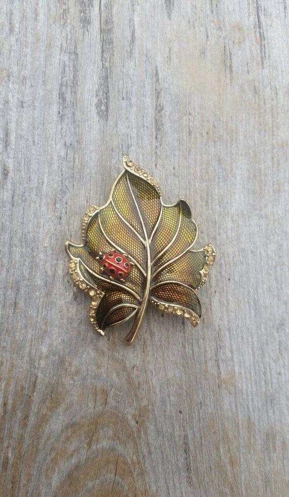 Liz Claiborne Detailed Enamel And Rhinestone Leaf With Ladybug Brooch