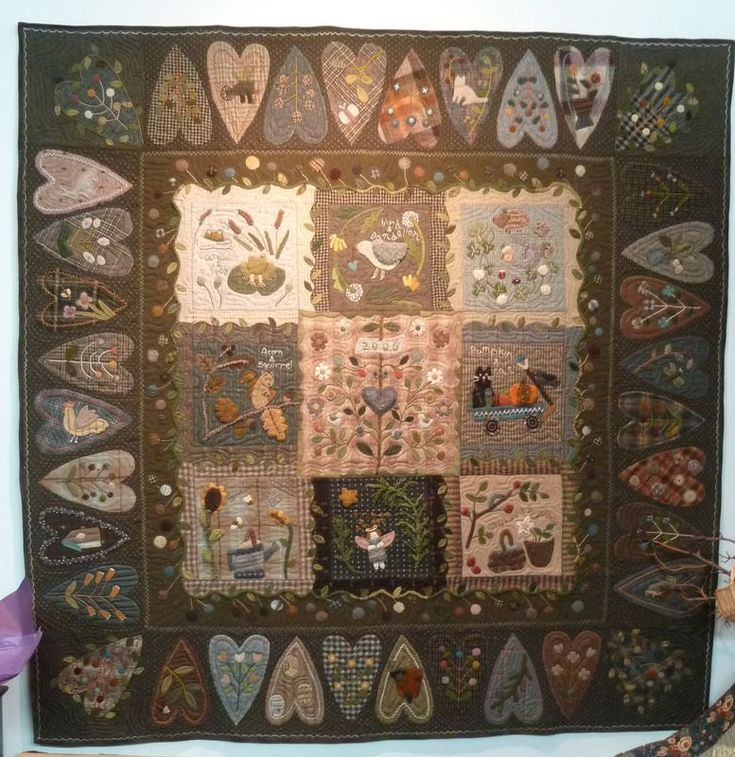 """Heart quilt shown in book """"Woolwork"""" de Yoko Saito...click to see close ups."""