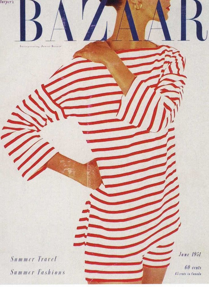 Vintage Bazaar cover - 50s 60s vintage fashion style red white nautical boat neck shirt shorts color photo stripe stripes
