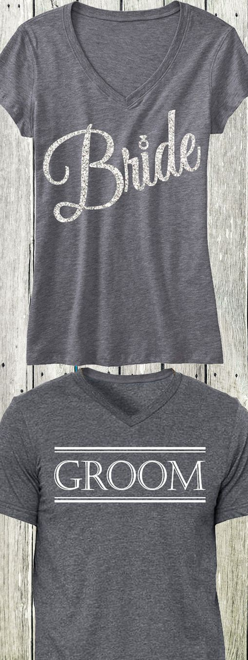 BRIDE Silver Glitter Script Print Shirt + GROOM Shirt, only $44.95 at www.MrsBridalShop...! Click here to buy http://nobullwoman-apparel.com/collections/wedding-bridal-shirts/products/gray-script-bride-shirt-gray-groom-shirt-special-deal