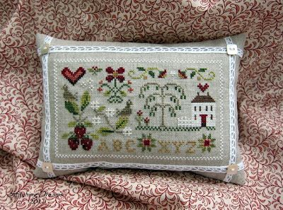 Summer Splendor -  Little House Needleworks design.  Love this stitched on 40 ct. for this finishing idea.