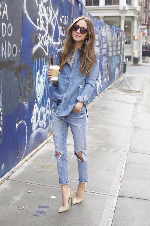 balenciaga tote bag #forever21denim | Fashion |  | Denim On Denim, Nude Heels and Double Denim