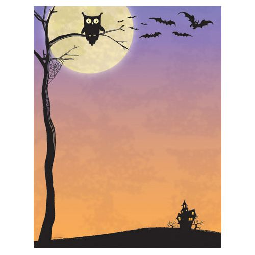 This Halloween printer paper features plenty of Halloween imagery with a hoot owl, scary bats and a haunted house on it, and offers plenty of room in the middle of the sheet for customizing with your own message. The 8 1/2″ x 11″ stationary paper runs smoothly through inkjet printers, laser printers and copiers.