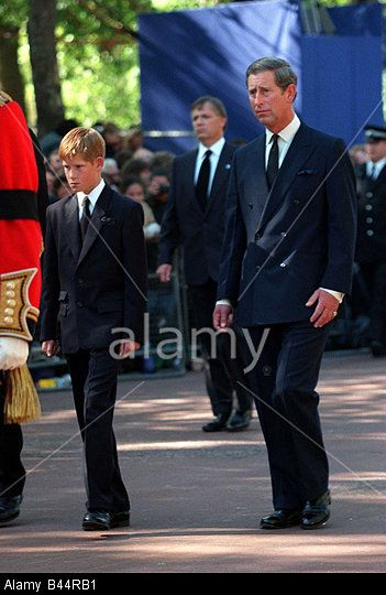 Princess Diana Funeral September 1997 Prince Charles and Prince Harry follow the coffin of Princess Diana Stock Photo