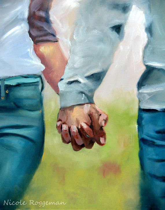 Holding Hands, clasped hands, oil paintings Nicole Roggeman canvas print original artwork 11x14 romance love, couples hands, young love