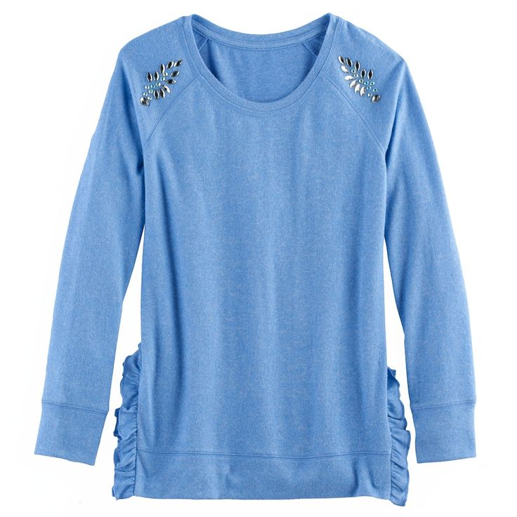 Girls 7-16 & Plus Size SO® Ruffle Sweater, Size: 20 1/2, Blue (Navy)