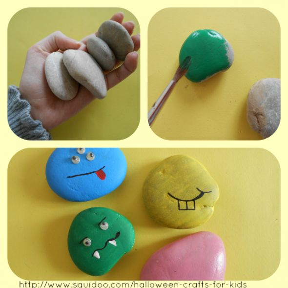 Halloween Crafts for Kids easy to do especially here in AZ plenty of rocks to choose from.