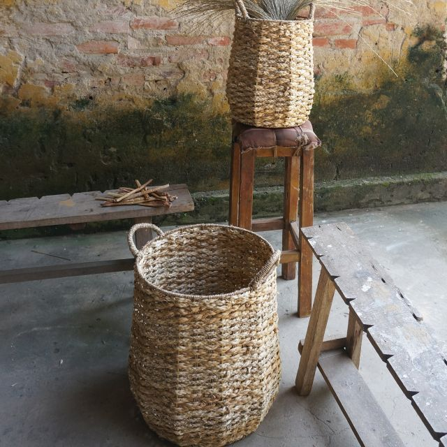 Pineapple Laundry Basket Set Handwoven Seagrass