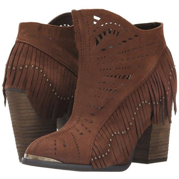 Not Rated Fierce Fringe Women's Dress Boots (£53) ❤ liked on Polyvore featuring shoes, boots, ankle booties, ankle boots, fringe booties, short fringe boots, laser cut booties, studded boots and fringe ankle boots