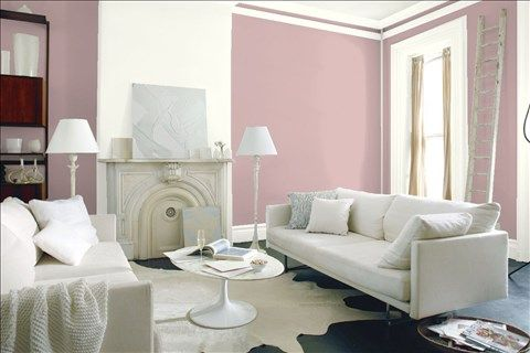 Look at the paint color combination I created with Benjamin Moore. Via @benjamin_moore. Wall: Victoriana 1263; Accent Wall: Simply White OC-117; Trim: Simply White OC-117.