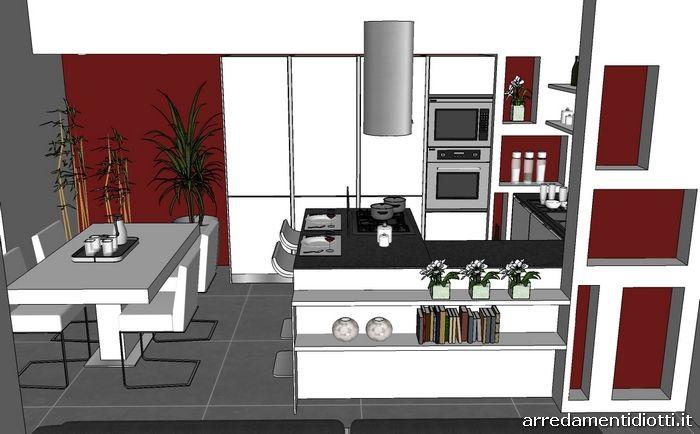 Cucina angolare con penisola moderna dream diotti a f for Diotti a f arredamenti