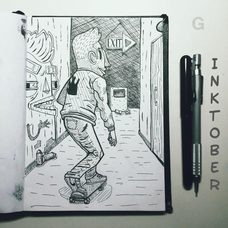 -26- #inktober #ink #illustration #inktober2015 #comics #backtothefuture #character #caricature #sketchbook #gutaart #sketch #topcreator #skate #mask #halloween #graffiti