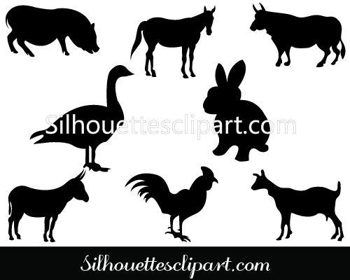 Farm Animal Silhouette Clip Art Download Free   ANIMAL VECTOR ...