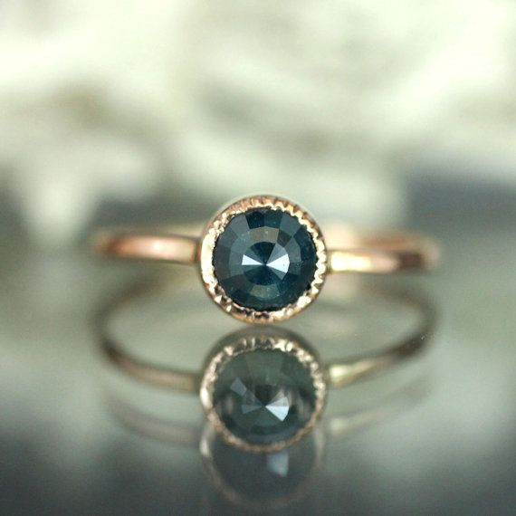 Rose Cut Blue Diamond Engagement Ring In 14K Rose Gold - Ready To Ship
