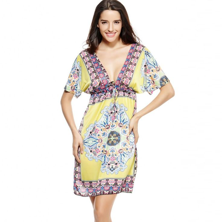 Retro Women Bohemian Dress Paisley Print V-Neck Short Sleeve Beach Wear Summer Dress