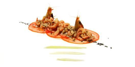 aperitief hapjes - Carpaccio van Tomaat Garnaal - COOK EXPERIENCE