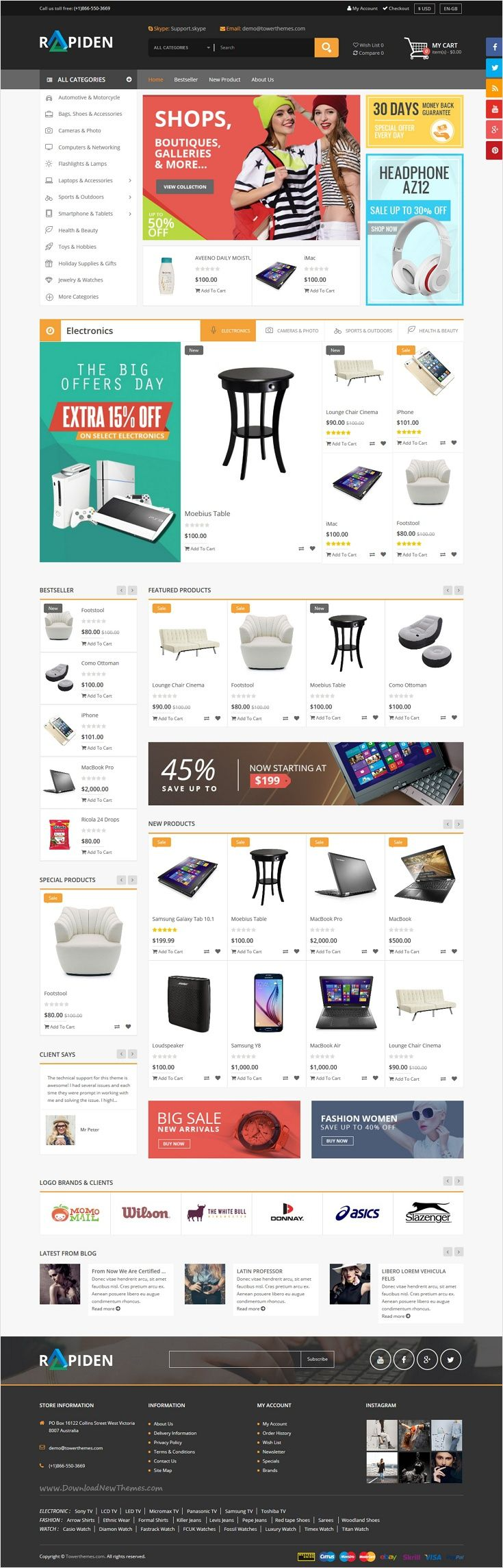 Rapiden is a wonderful responsive #Megashop #Opencart #theme for large online stores website with 4 modern layout download now➩ https://themeforest.net/item/rapiden-mega-shop-responsive-opencart-theme/18567232?ref=Datasata